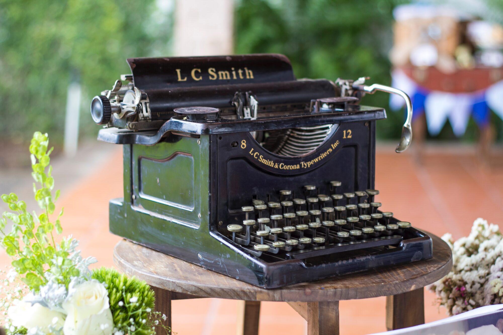 an old fashioned Smith & Corona manual typewriter